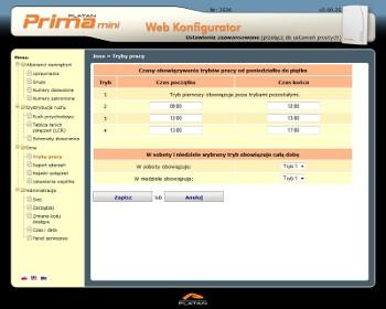 Prima mini Web Konfigurator - zdalne zarządzanie centralką przez przeglądarkę internetową