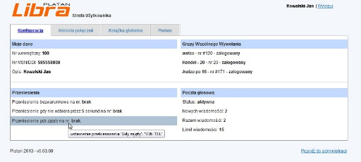 PBX Server Libra - Strefa Użytkownika