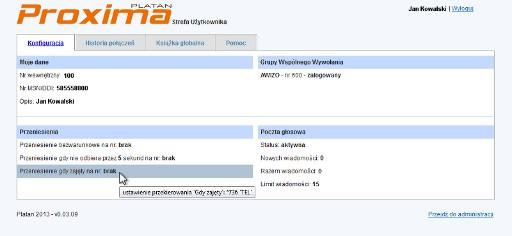 Okno Strefy Użytkownika wIP PBX Serverze Proxima